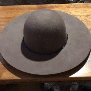 Brown hat.